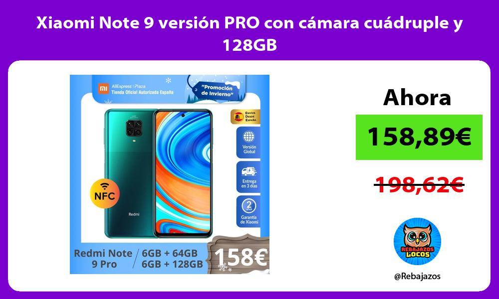 Xiaomi Note 9 version PRO con camara cuadruple y 128GB