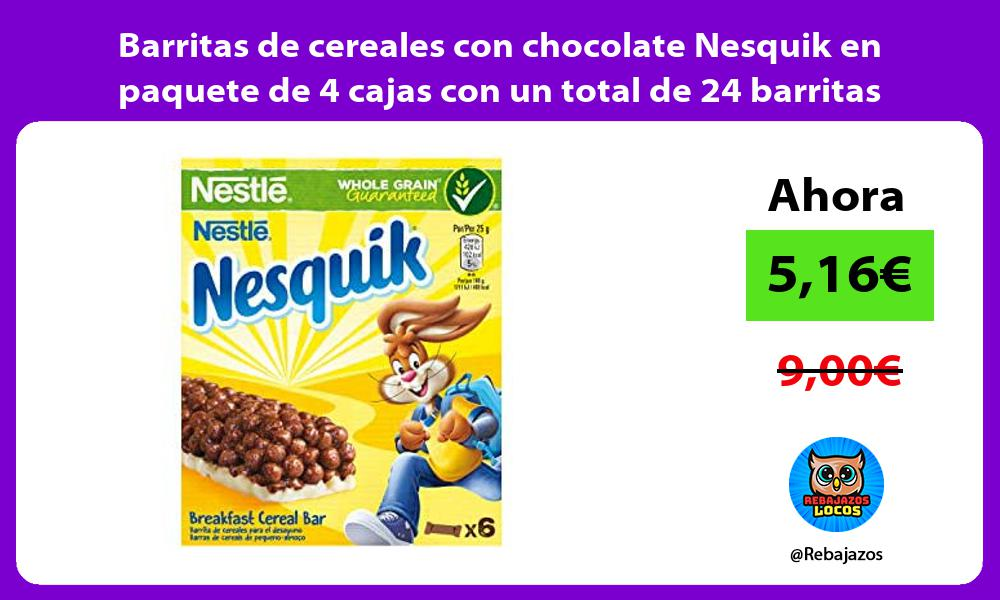 Barritas de cereales con chocolate Nesquik en paquete de 4 cajas con un total de 24 barritas