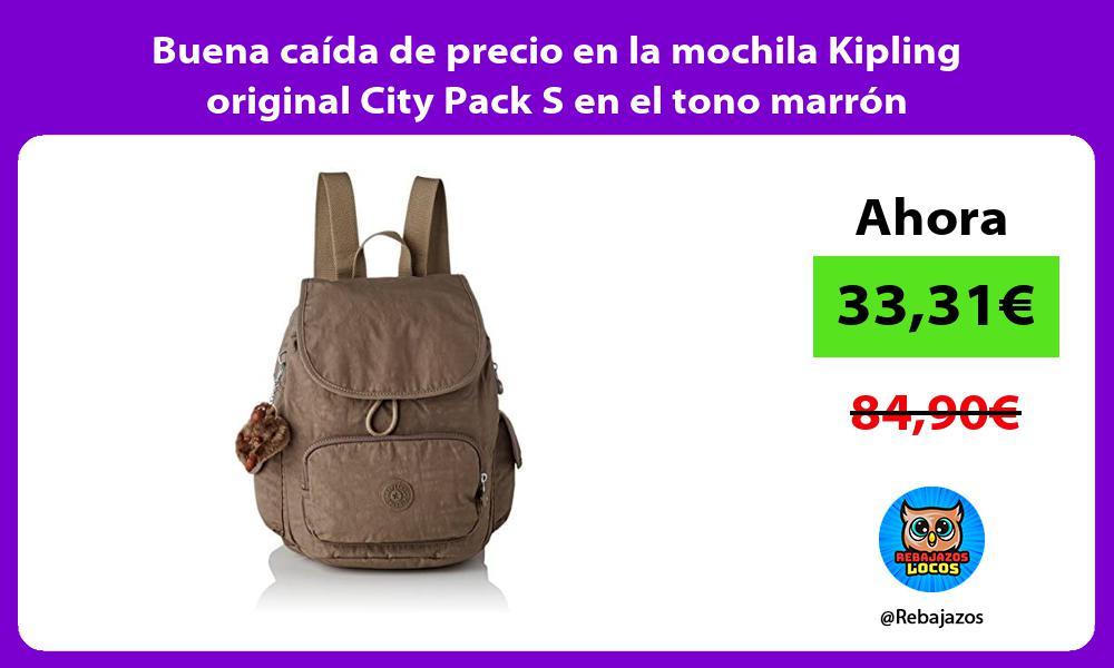 Buena caida de precio en la mochila Kipling original City Pack S en el tono marron