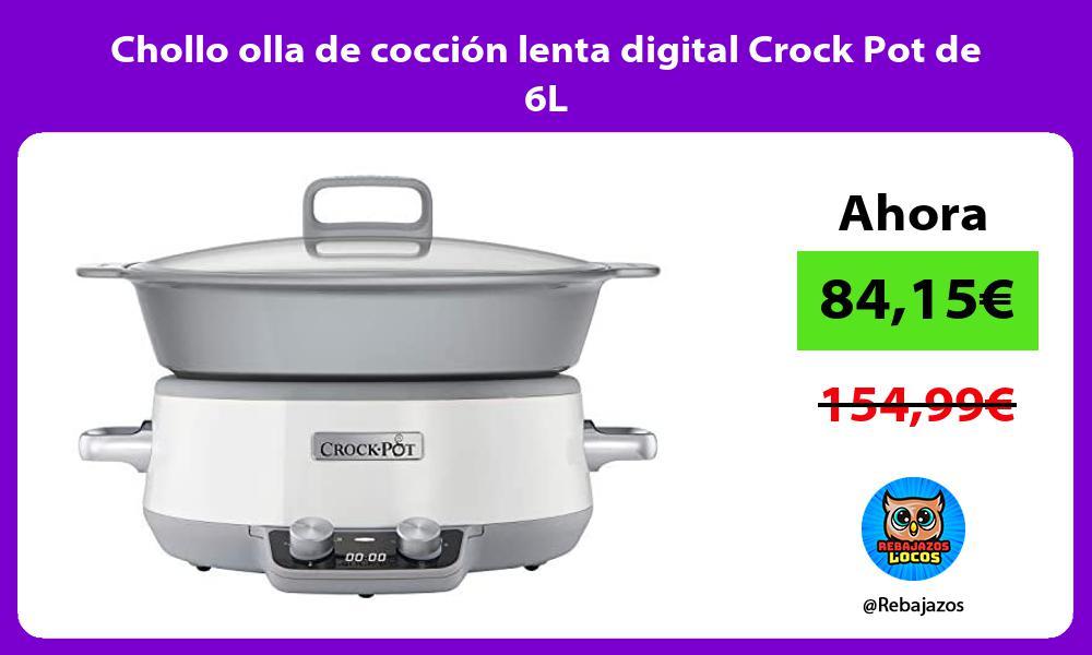 Chollo olla de coccion lenta digital Crock Pot de 6L