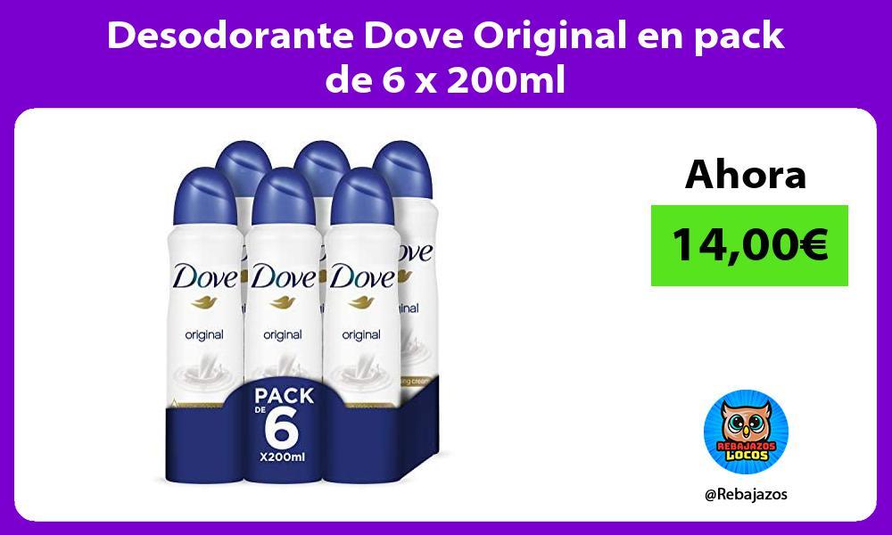 Desodorante Dove Original en pack de 6 x 200ml