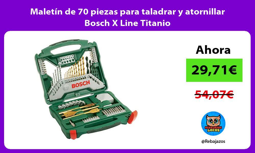 Maletin de 70 piezas para taladrar y atornillar Bosch X Line Titanio