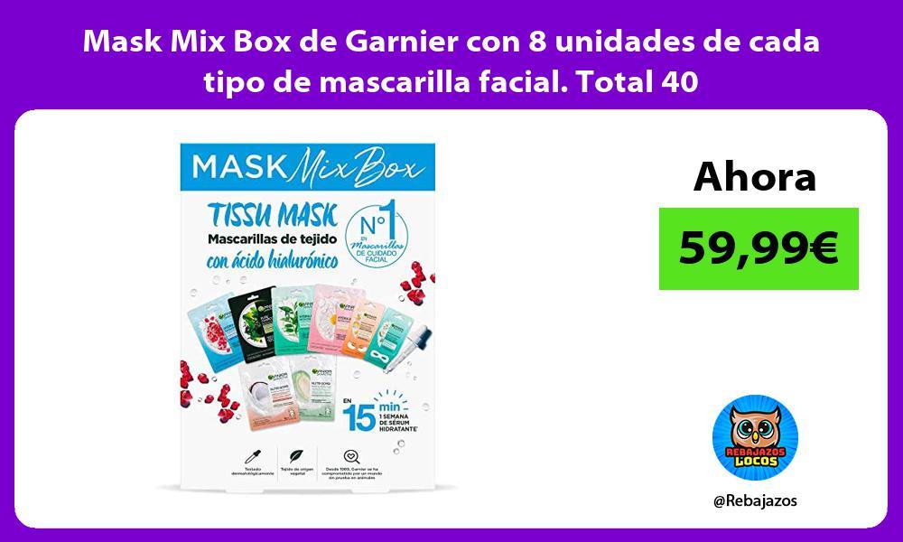 Mask Mix Box de Garnier con 8 unidades de cada tipo de mascarilla facial Total 40