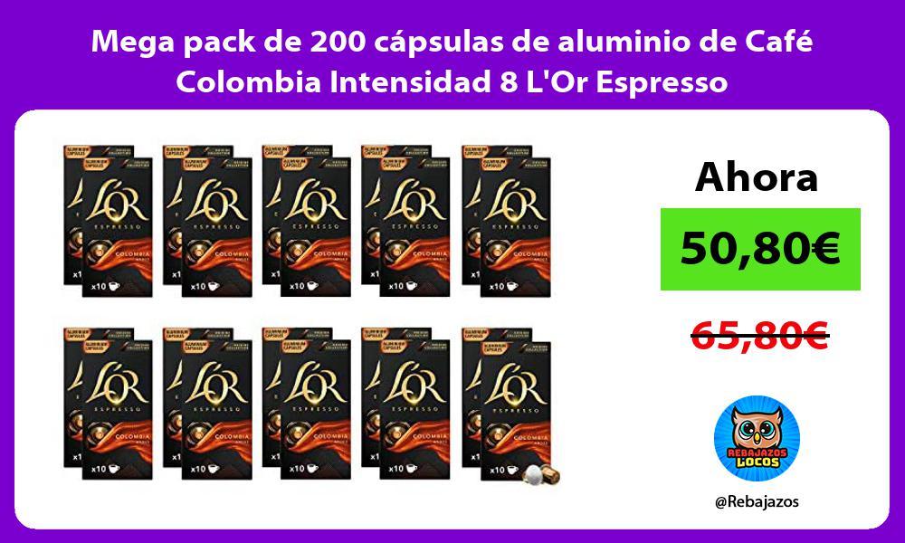 Mega pack de 200 capsulas de aluminio de Cafe Colombia Intensidad 8 LOr Espresso