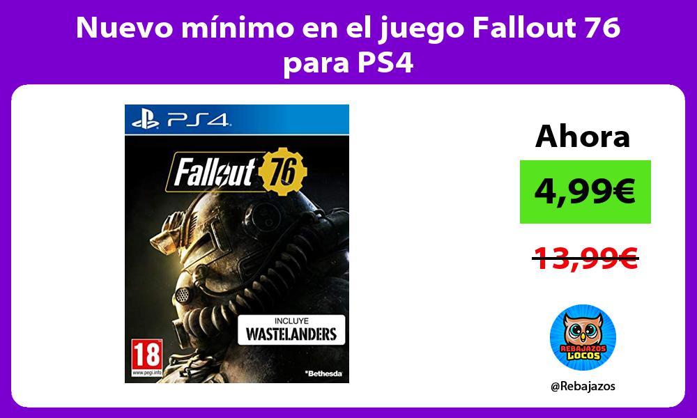 Nuevo minimo en el juego Fallout 76 para PS4