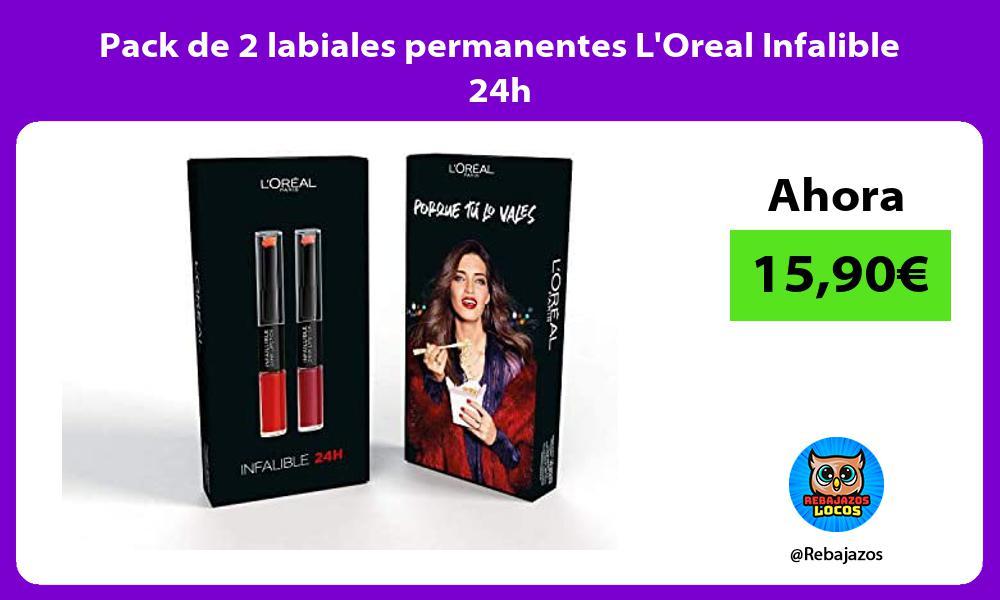 Pack de 2 labiales permanentes LOreal Infalible 24h