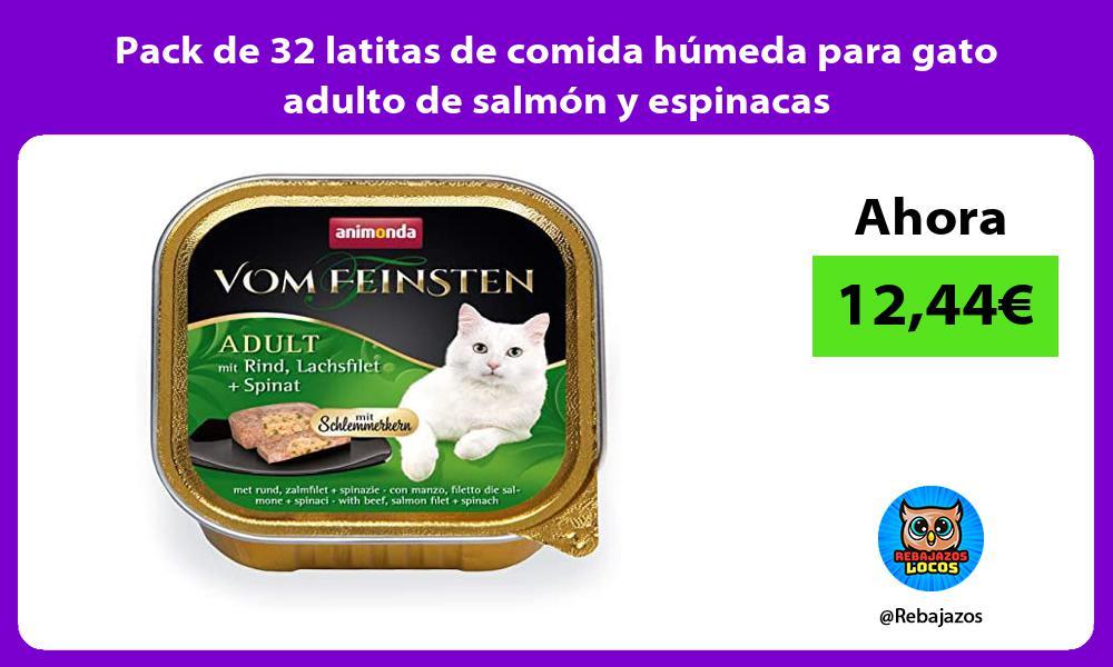 Pack de 32 latitas de comida humeda para gato adulto de salmon y espinacas