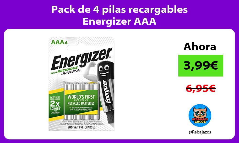 Pack de 4 pilas recargables Energizer AAA