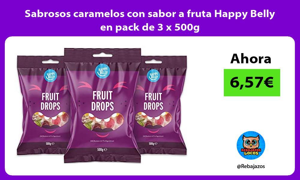 Sabrosos caramelos con sabor a fruta Happy Belly en pack de 3 x 500g
