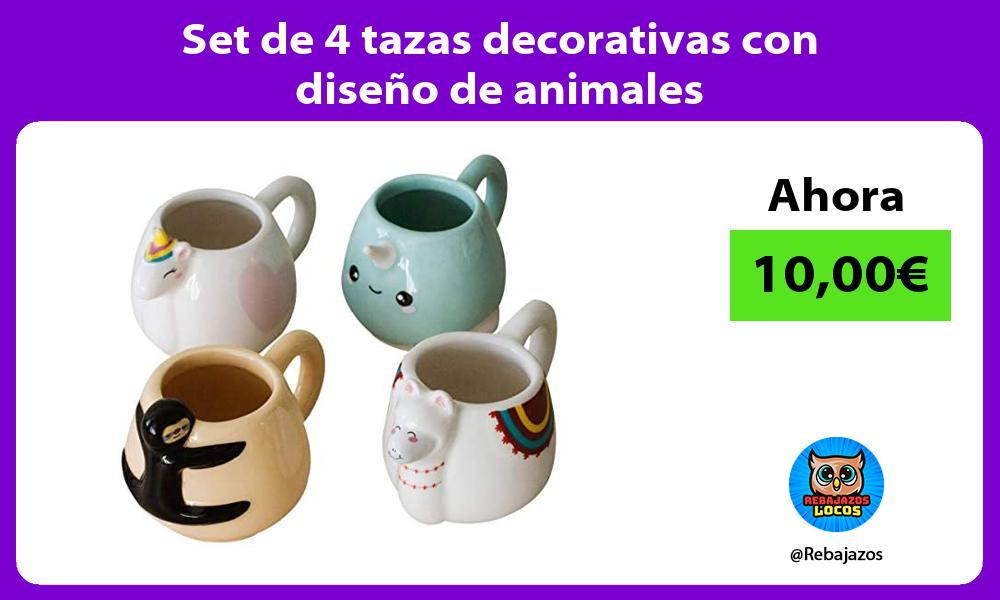 Set de 4 tazas decorativas con diseno de animales