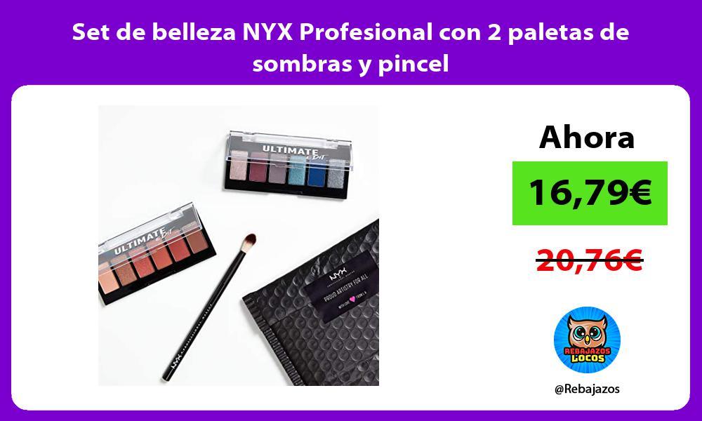 Set de belleza NYX Profesional con 2 paletas de sombras y pincel