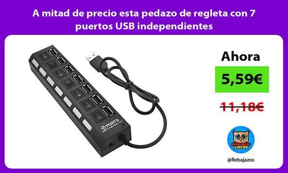 A mitad de precio esta pedazo de regleta con 7 puertos USB independientes