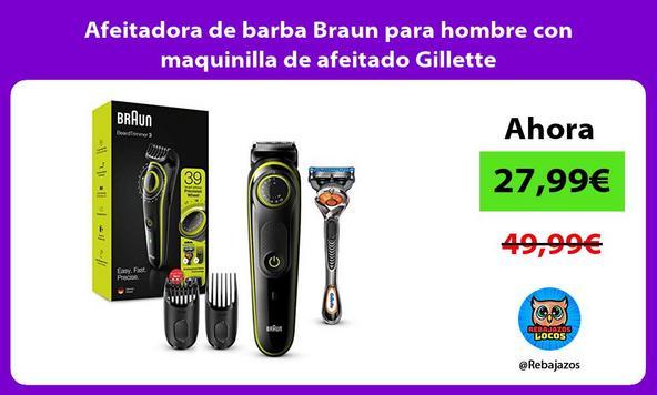 Afeitadora de barba Braun para hombre con maquinilla de afeitado Gillette