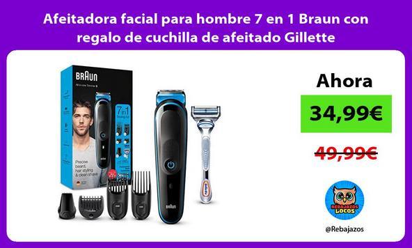 Afeitadora facial para hombre 7 en 1 Braun con regalo de cuchilla de afeitado Gillette