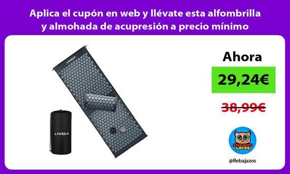Aplica el cupón en web y llévate esta alfombrilla y almohada de acupresión a precio mínimo