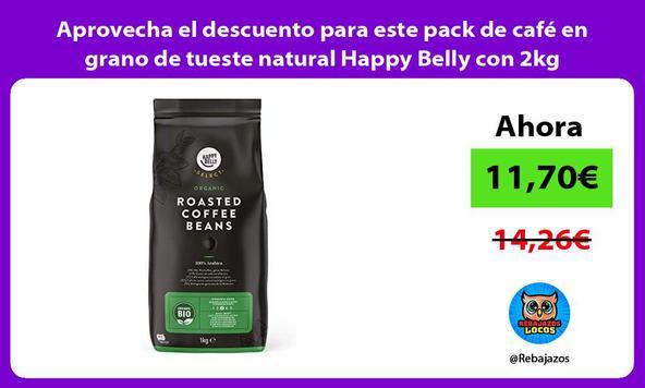 Aprovecha el descuento para este pack de café en grano de tueste natural Happy Belly con 2kg