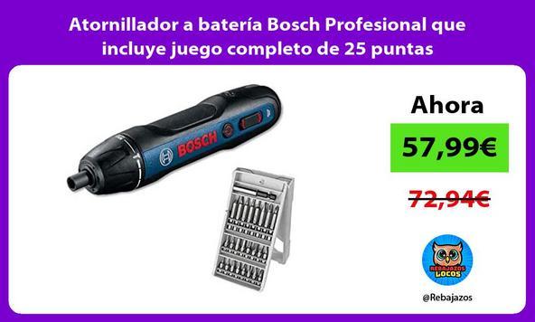 Atornillador a batería Bosch Profesional que incluye juego completo de 25 puntas