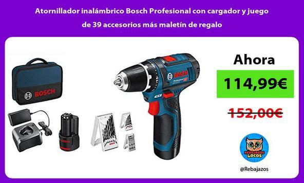Atornillador inalámbrico Bosch Profesional con cargador y juego de 39 accesorios más maletín de regalo