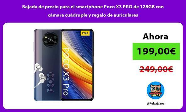 Bajada de precio para el smartphone Poco X3 PRO de 128GB con cámara cuádruple y regalo de auriculares