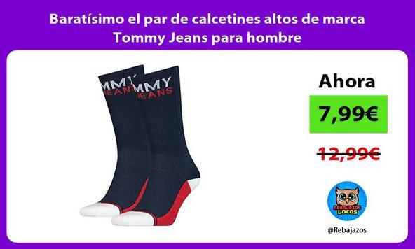 Baratísimo el par de calcetines altos de marca Tommy Jeans para hombre