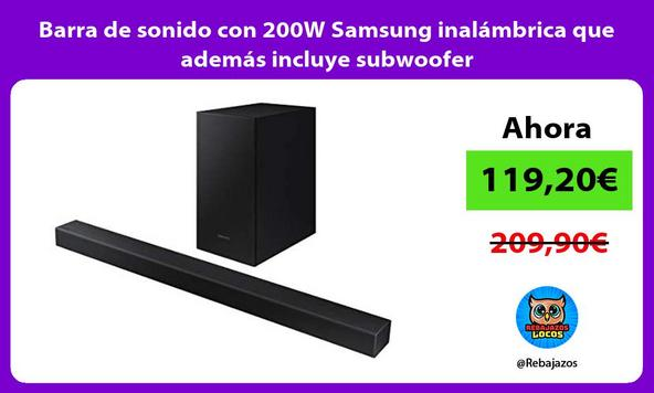 Barra de sonido con 200W Samsung inalámbrica que además incluye subwoofer