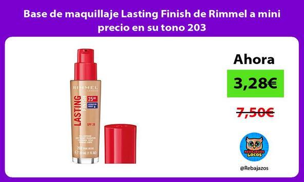 Base de maquillaje Lasting Finish de Rimmel a mini precio en su tono 203