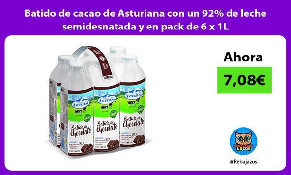 Batido de cacao de Asturiana con un 92% de leche semidesnatada y en pack de 6 x 1L