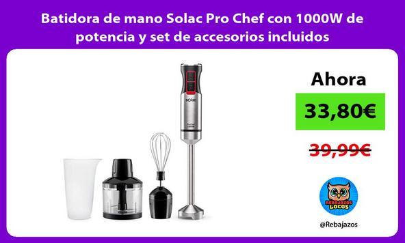 Batidora de mano Solac Pro Chef con 1000W de potencia y set de accesorios incluidos
