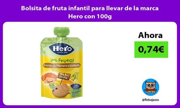 Bolsita de fruta infantil para llevar de la marca Hero con 100g