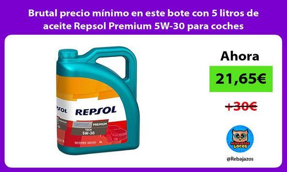 Brutal precio mínimo en este bote con 5 litros de aceite Repsol Premium 5W-30 para coches