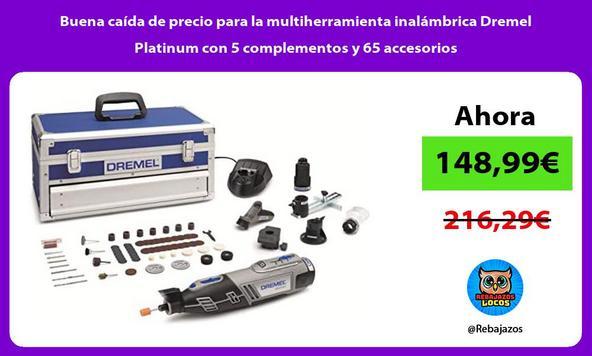 Buena caída de precio para la multiherramienta inalámbrica Dremel Platinum con 5 complementos y 65 accesorios