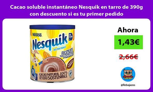 Cacao soluble instantáneo Nesquik en tarro de 390g con descuento si es tu primer pedido