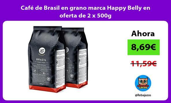 Café de Brasil en grano marca Happy Belly en oferta de 2 x 500g