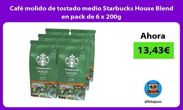 Café molido de tostado medio Starbucks House Blend en pack de 6 x 200g