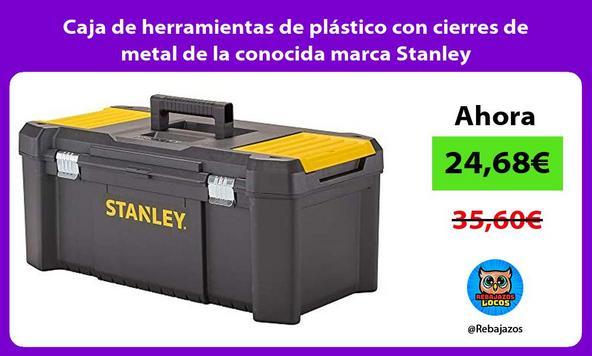 Caja de herramientas de plástico con cierres de metal de la conocida marca Stanley