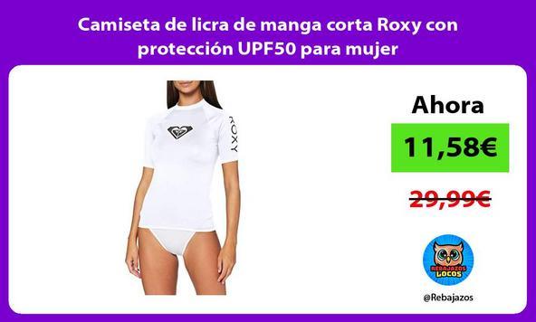 Camiseta de licra de manga corta Roxy con protección UPF50 para mujer