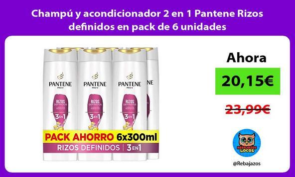 Champú y acondicionador 2 en 1 Pantene Rizos definidos en pack de 6 unidades