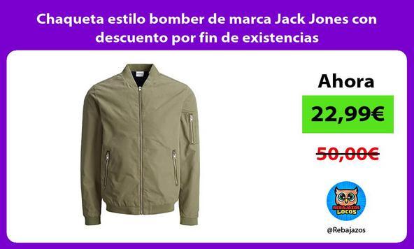 Chaqueta estilo bomber de marca Jack Jones con descuento por fin de existencias