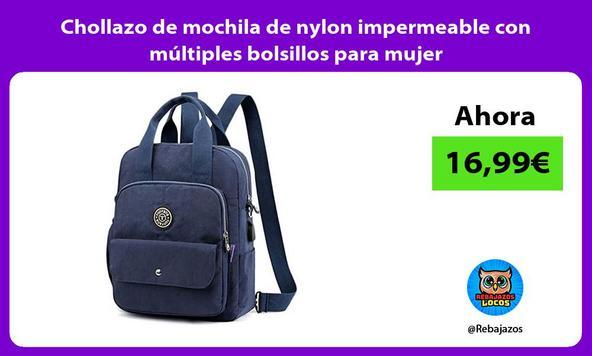 Chollazo de mochila de nylon impermeable con múltiples bolsillos para mujer