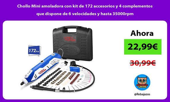 Chollo Mini amoladora con kit de 172 accesorios y 4 complementos que dispone de 6 velocidades y hasta 35000rpm