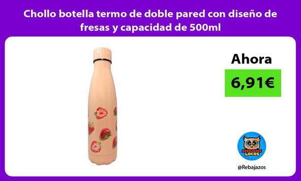 Chollo botella termo de doble pared con diseño de fresas y capacidad de 500ml