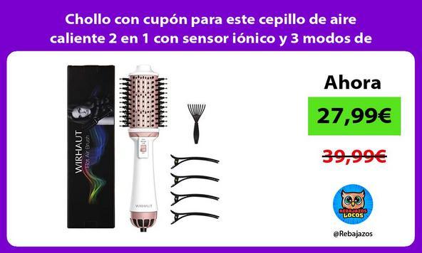 Chollo con cupón para este cepillo de aire caliente 2 en 1 con sensor iónico y 3 modos de peinado