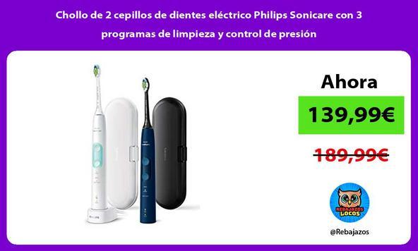 Chollo de 2 cepillos de dientes eléctrico Philips Sonicare con 3 programas de limpieza y control de presión