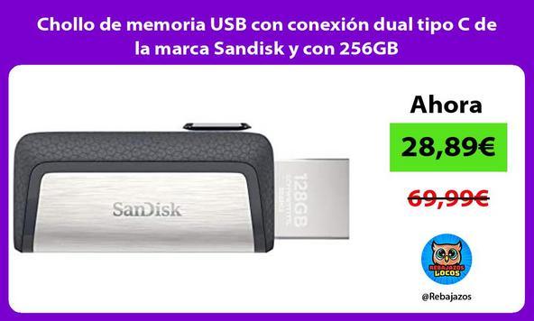 Chollo de memoria USB con conexión dual tipo C de la marca Sandisk y con 256GB