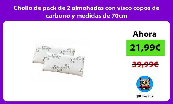 Chollo de pack de 2 almohadas con visco copos de carbono y medidas de 70cm