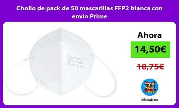 Chollo de pack de 50 mascarillas FFP2 blanca con envío Prime