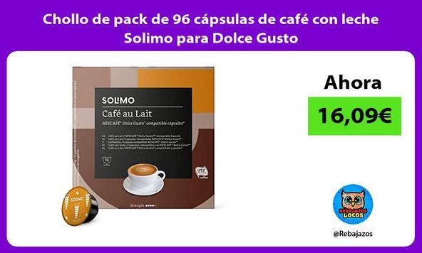 Chollo de pack de 96 cápsulas de café con leche Solimo para Dolce Gusto