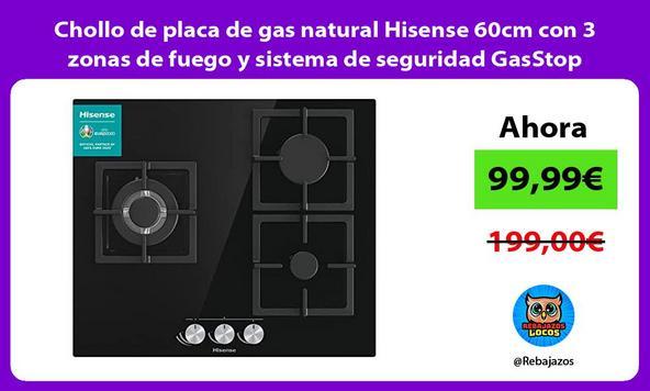 Chollo de placa de gas natural Hisense 60cm con 3 zonas de fuego y sistema de seguridad GasStop