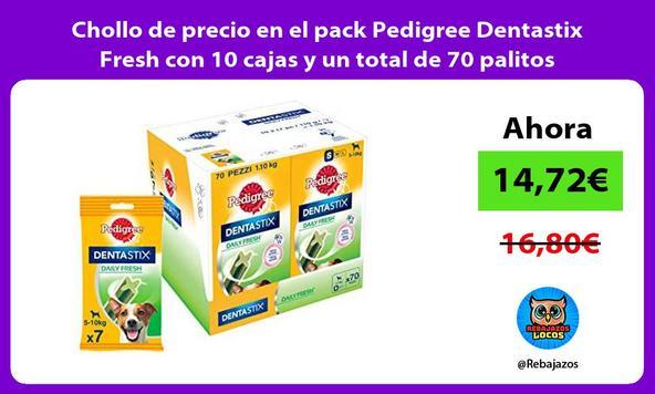 Chollo de precio en el pack Pedigree Dentastix Fresh con 10 cajas y un total de 70 palitos