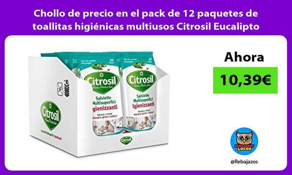 Chollo de precio en el pack de 12 paquetes de toallitas higiénicas multiusos Citrosil Eucalipto
